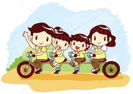 Kids : Family riding tandem bicycle