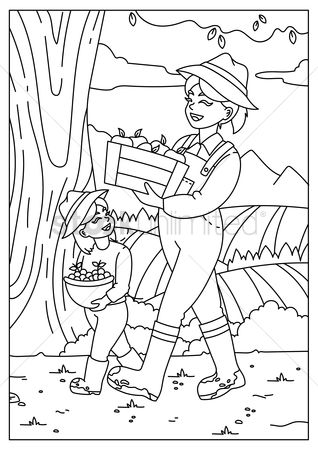 Cartoon : Farmer holding harvested fruits