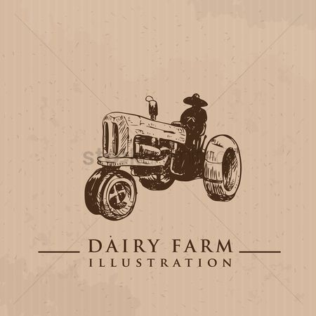 Dairy : Farmer on tractor
