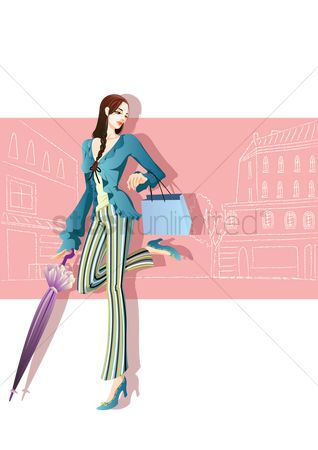 Trendy : Fashionable woman with shopping bags