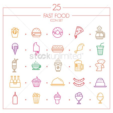 French : Fast food icon set