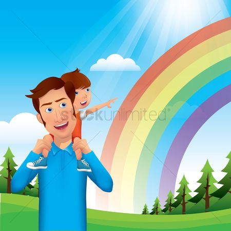 Rainbows : Father and son watching rainbow
