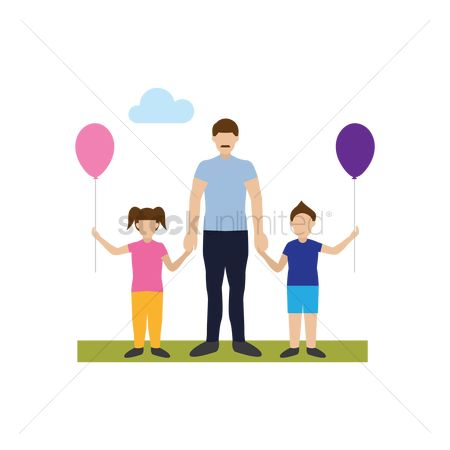 Sons : Father with son and daughter in a park