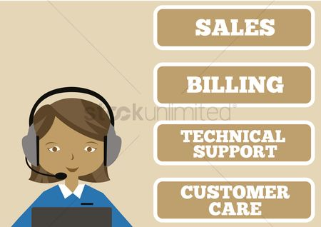 Billing : Female customer care executive wearing a headset