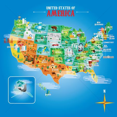 America : Fifty states of america with famous landmarks