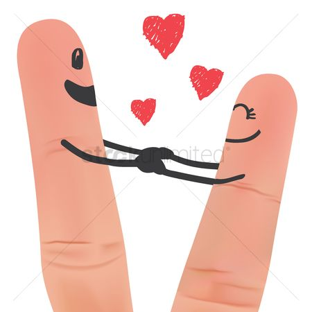 Romance : Finger couple holding hands