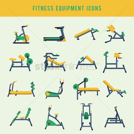 Health cares : Fitness equipment icons