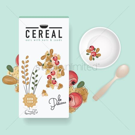 Servings : Flatlay of cereal box and bowl
