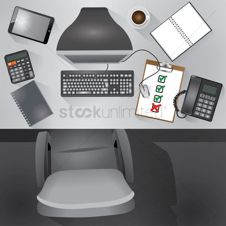 Laying : Flatlay of desktop table