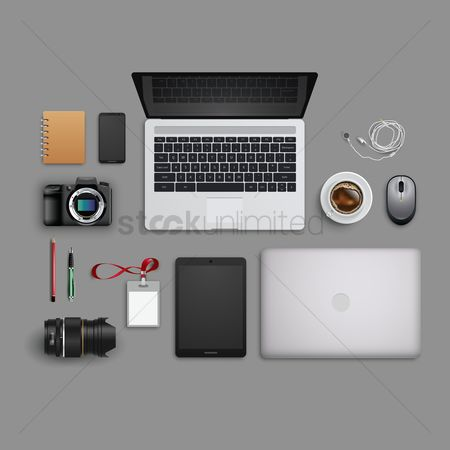 Cameras : Flatlay of office desk and equipment