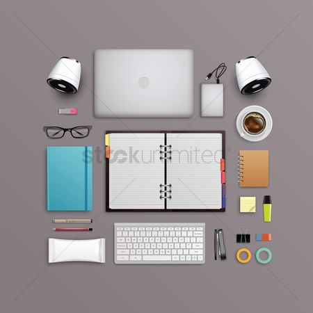 Backdrops : Flatlay of office desk and equipment