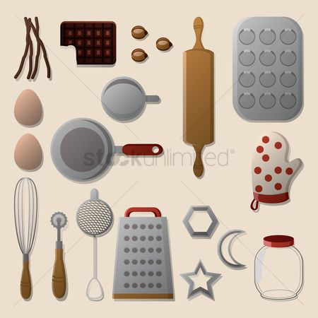 Biscuit : Flatlay of pastry chef items