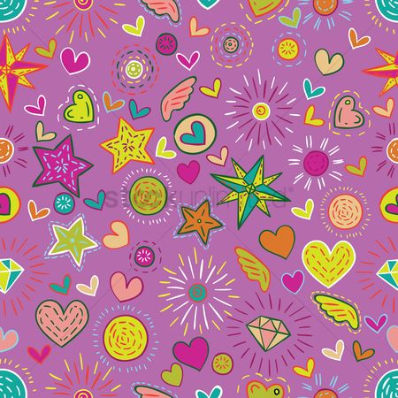 Diamonds : Floral and heart background
