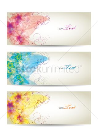 Copy spaces : Floral banners
