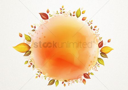 Circular : Floral leaves round background