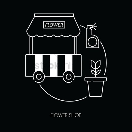 Flower pot : Flower shop icon