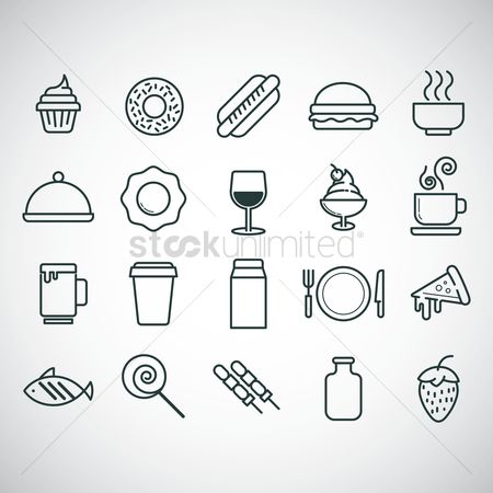 Dairies : Food and beverage icon set