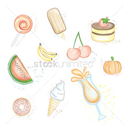 Watermelon slice : Food and beverage icons set