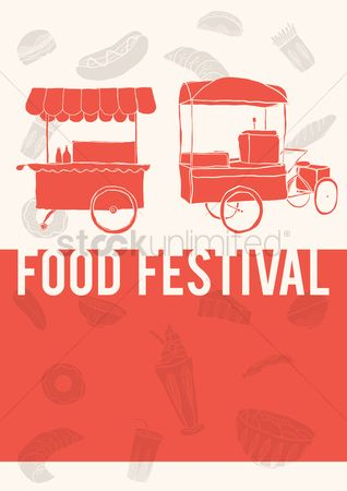 Food cart : Food festival poster design