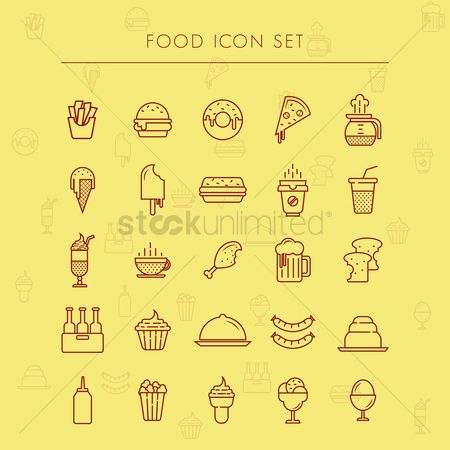 French : Food icon set