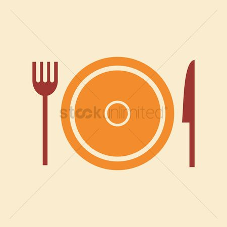 Dinner : Fork and knife with a plate
