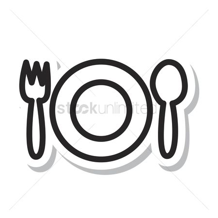 Dinner : Fork and spoon with a plate