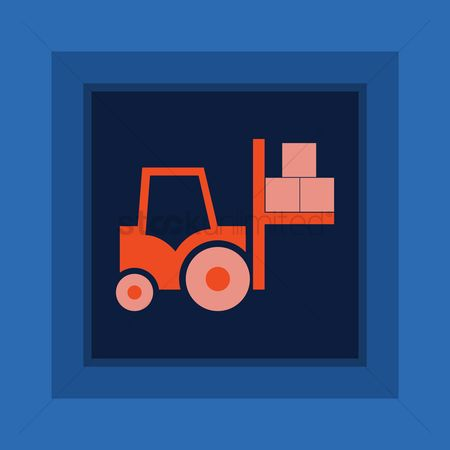 Fork lift : Fork lift truck with load
