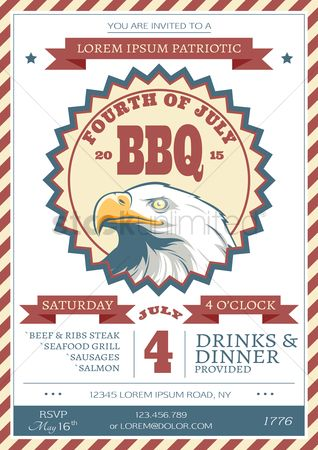 Hawks : Fourth of july independence day barbecue invitation