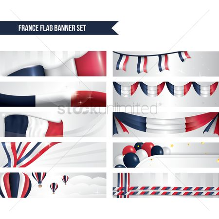 French : France flag banner set