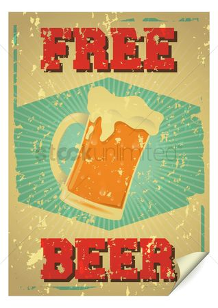 Alcohols : Free beer poster
