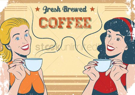 Lady : Fresh brewed coffee poster