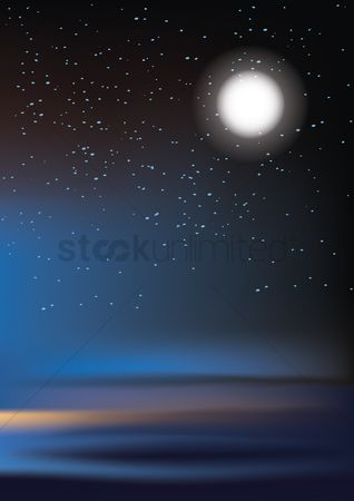 Moon : Full moon and stars background