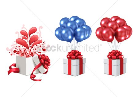 Gifts : Gift boxes with balloons
