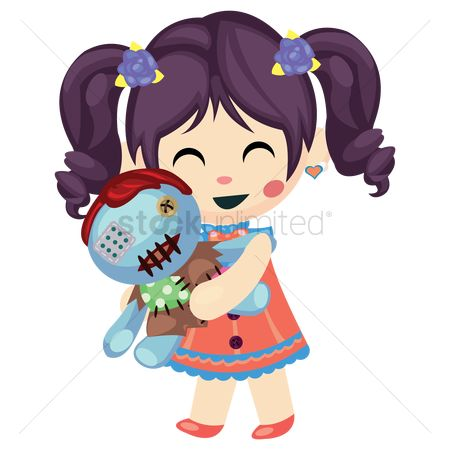 Dolls : Girl holding a doll