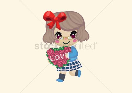 Heart : Girl holding a flower heart