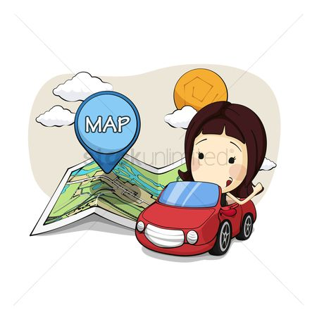 Map pin : Girl in car with navigation map