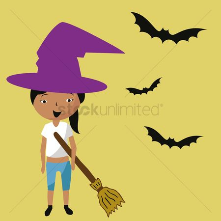 Broom : Girl in halloween costume