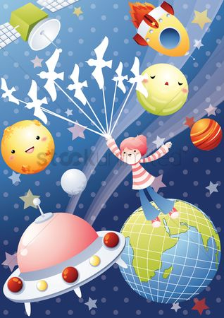 Spaceships : Girl in space
