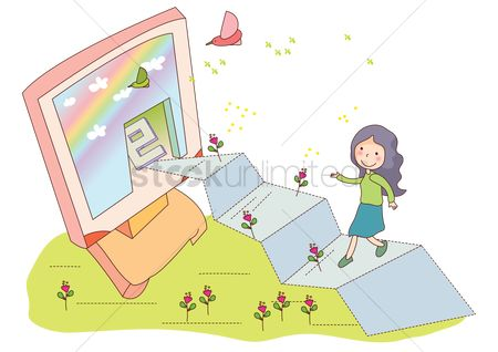 Email : Girl learning computer concept