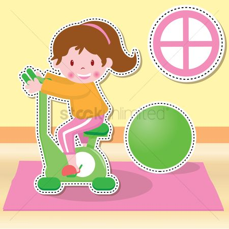 Indoor : Girl on cycling machine