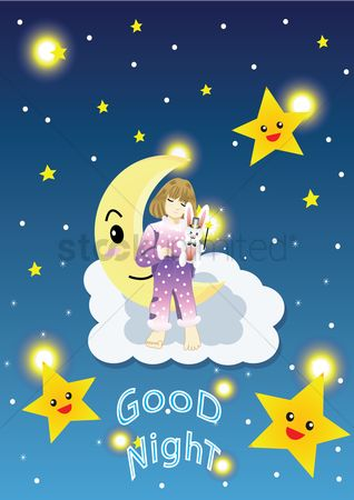 Free Good Night Cards Stock Vectors | StockUnlimited