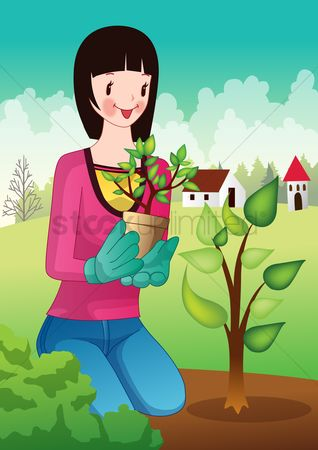 Flower pot : Girl planting tree