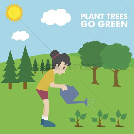 Pollutions : Girl planting trees