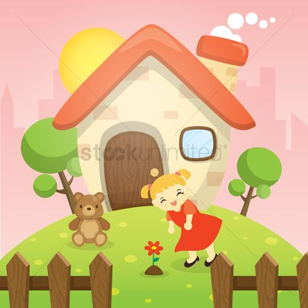 Teddybears : Girl playing in house yard