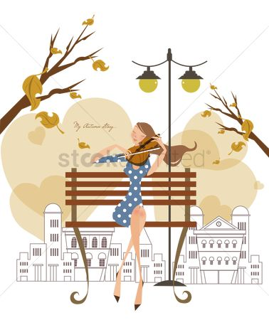Lamp : Girl playing the violin