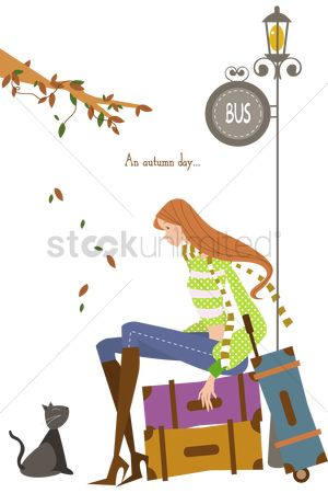 Trolley : Girl sitting on luggage bags