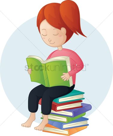 Stories : Girl sitting on stack of books reading