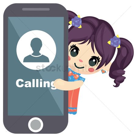 Calling : Girl standing with a phone