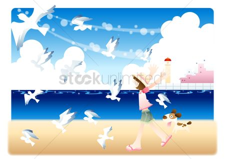 Swimsuit : Girl with pet dog chasing birds on the beach