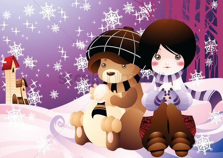 Teddy bear : Girl with teddy bear in snow